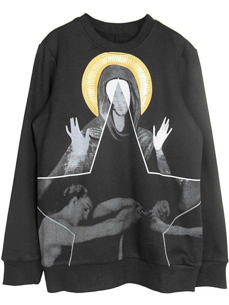 Black Long Sleeve Virgin Mary Print Sweatshirt