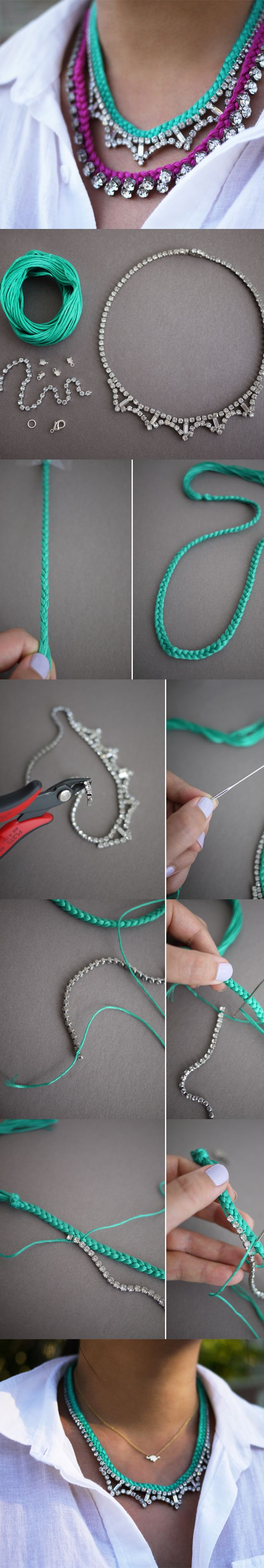 DIY Braided Rhinestone Necklace, DIY! The Most Beautiful NECKLACE – Do It Yourself Ideas