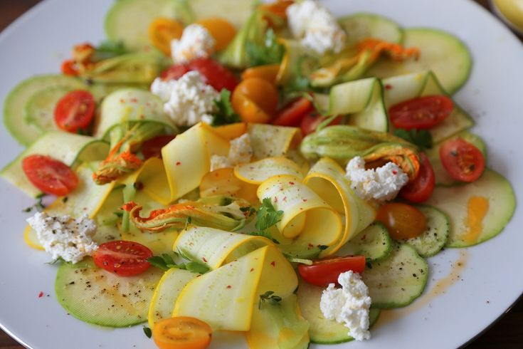shaved squash salad with sweet cherry tomatoes zucchini blossoms and ...