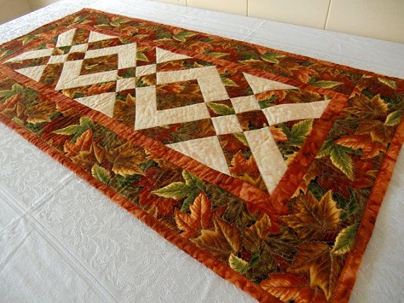 Thanksgiving Quilted Table Runner Patterns : Autumn Leaves Thanksgiving Harvest Table Runner Quilt Brown, Rust, Ru?
