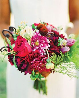 Bouquet of dahlias, Darcey garden roses, tulips, asclepiad, echinacea pods, and fiddlehead ferns #weddings  Bouquet by Blossom & Branch; Photo by Jenny Kim Photography