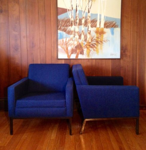 Pair vintage mcm steelcase lounge chairs case study era knoll eames r