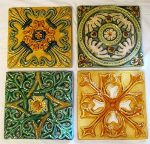 Spanish Mosaic Painted Ceramic Tile Heavy Decorative