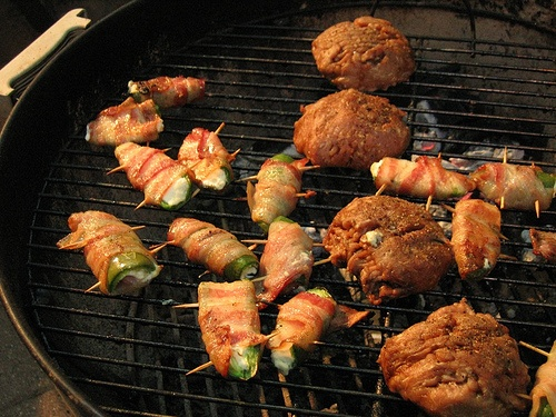 Grilled bacon wrapped Jalapeno poppers and turkey burgers by Nat ...