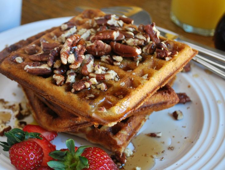 ... waffles smothered in crispy bacon and rich, maple syrup. Add chopped
