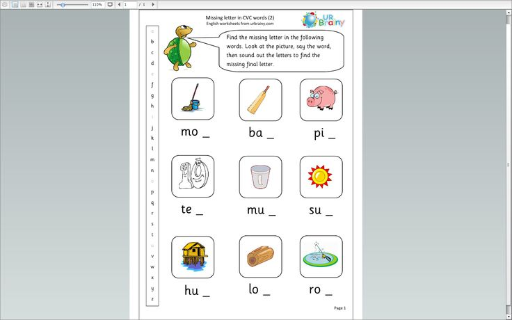 Missing Letters CVC words 2 | English: Worksheets & more [KG - grade 1 ...