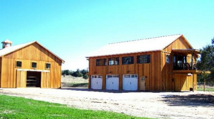Shop with office barns pinterest for Custom garages with living quarters