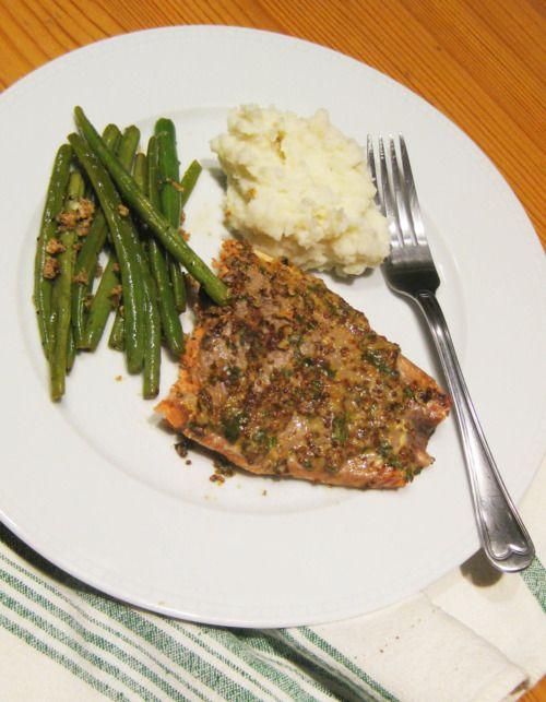 Grilled Dijon Garlic Herb Salmon with Parmesan Green Beans - gluten ...