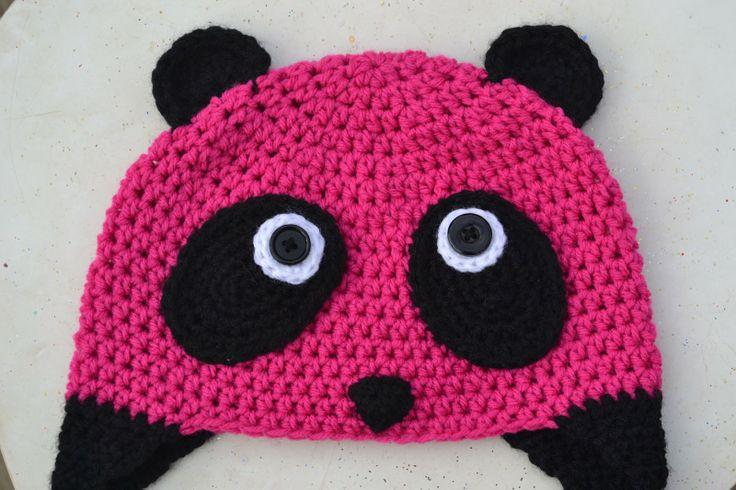Free Crochet Baby Panda Hat Pattern : The Pink Panda. Free crochet pattern. shellie Pinterest