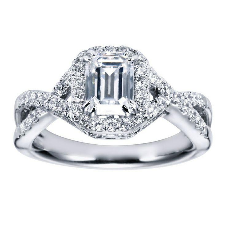 Halo Ring Emerald Cut Halo Ring