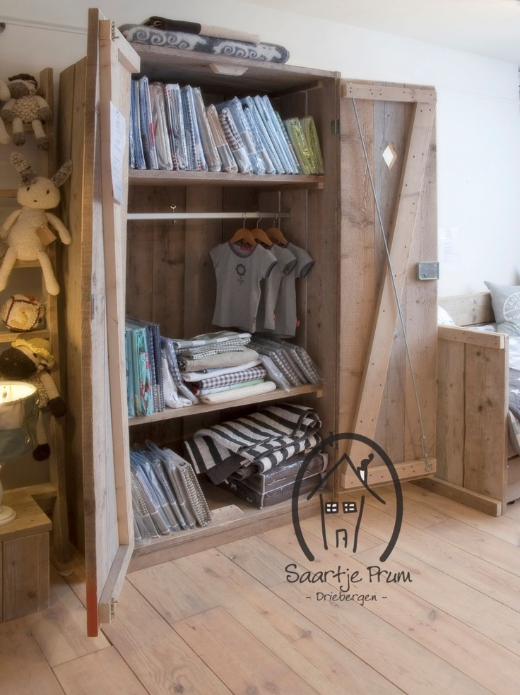 Kast Steigerhout (leg + hang)  Kinderkamer idee  Pinterest