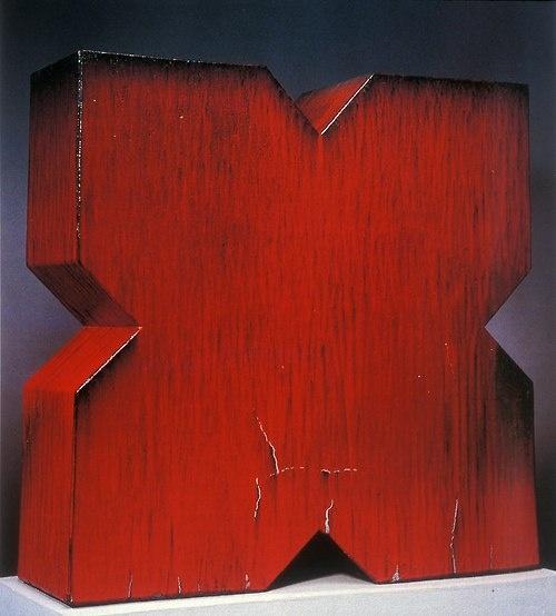 JOHN MASON    Red X, 1966    Stoneware, 581/2 x 591/2 x 17 in. (148.59 x 151.13 x 43.18cm)
