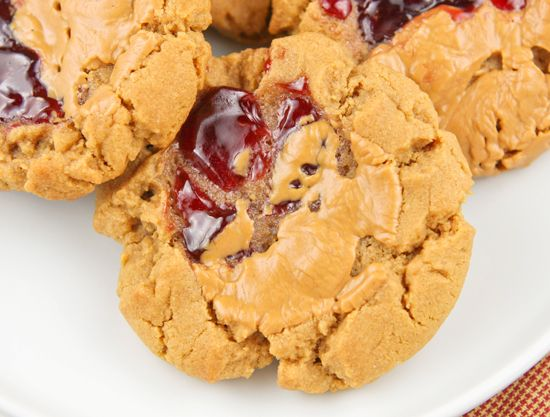 Peanut butter & jelly cookies. I could live on pb&j sandwhiches so I&...