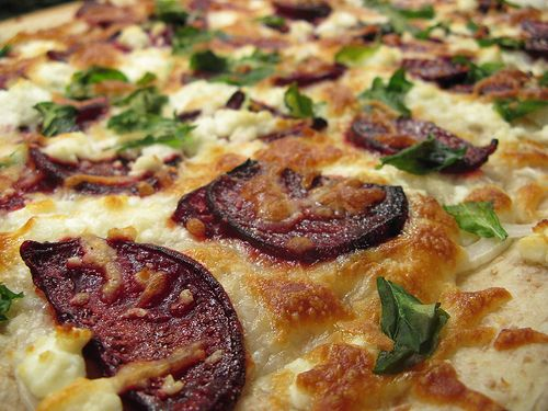 Roaste Beet, Goat Chees & Arugula Pizza. YUM!! I want to try this with ...