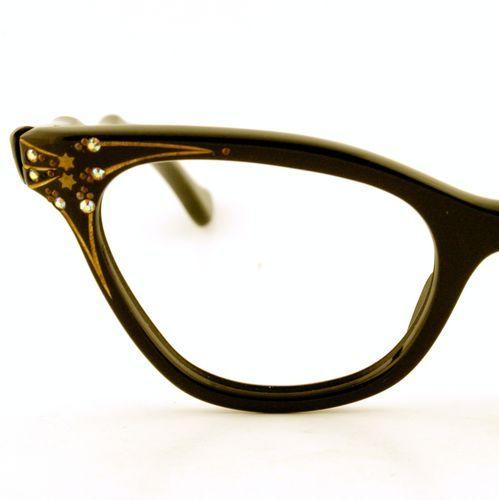 Ladies Eyeglass Frames Rhinestones : Vintage Women Black Cat Eyeglass E.I. Frames France ...