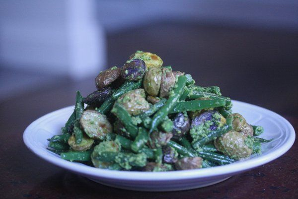 Roasted Potato and Green Bean Salad with Almond-Chive Pesto/dcc