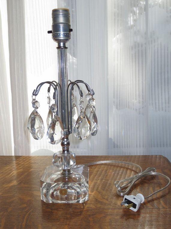 Vanity Lamps Vintage : Antique 1940 s Crystal Boudoir Vanity Table Lamp