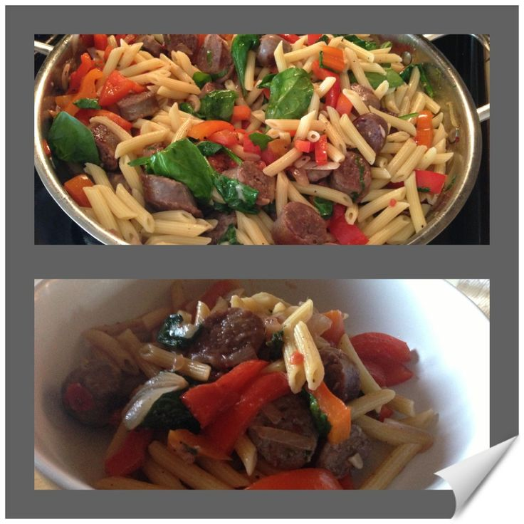 Sausage penne pasta. Spicy sausage thats grilled then sliced. Sauté ...