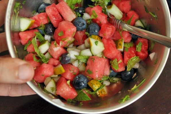 making Watermelon Blueberry Salsa   Food--Main dishes   Pinterest
