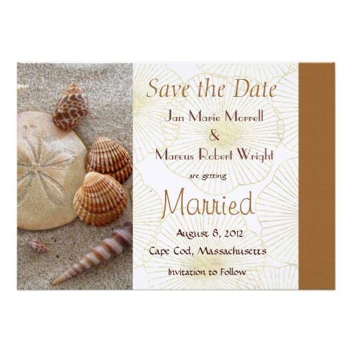 Beach sea shells wedding save the date card invite