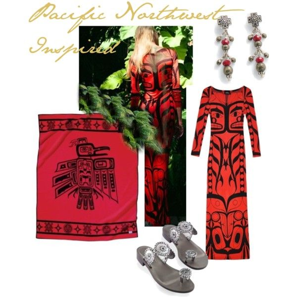Gorgeous Pacific Northwest reds!    Vivid red and black traditional motifs on Pendleton's Raven Blanket and Lindsey Thornburg's maxi dress.
