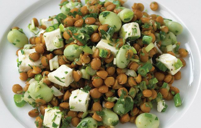 Lentil broad bean and feta salad | Recipes to try | Pinterest
