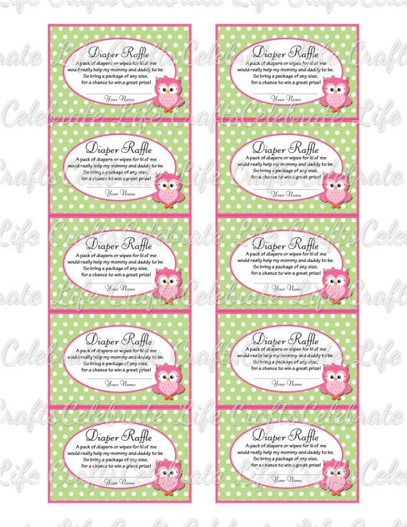 printable diaper raffle tickets for baby shower baby girl pink and