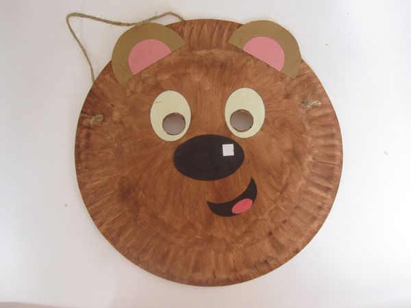 Teddy bear mask a paper plate painted and then decorated with ears