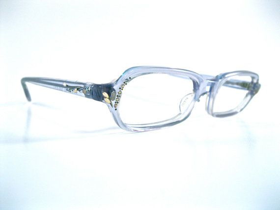 ice blue eyeglasses. rhinestones/plastic rectangular frame ...