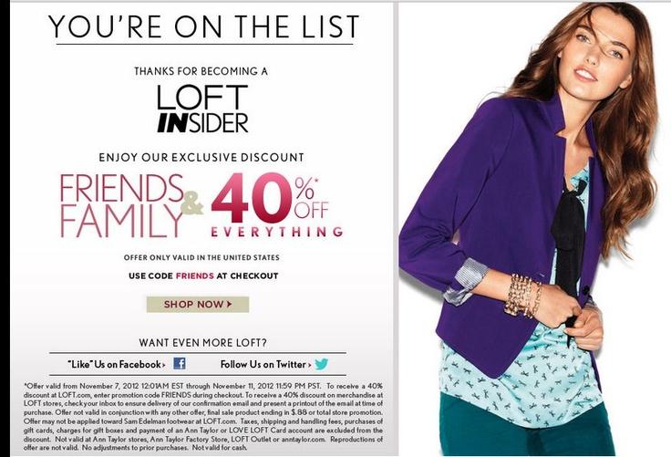 The loft coupon code