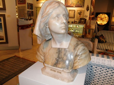 Antique Jeanne D'Arc Marble Bust Statue Joan of Arc