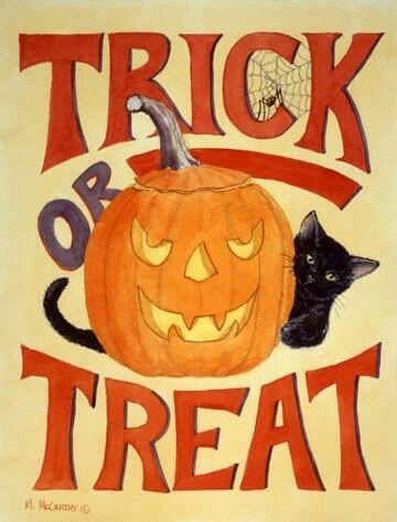 Trick or Treat vintage sign | HALLOWEEN CATS/BOARD 3 ...