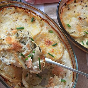 potato bake with smoked salmon crème fraiche and chives oh my cream ...