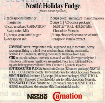 Nestle Holiday Fudge Recipe- made this for thanksgiving and it was to ...