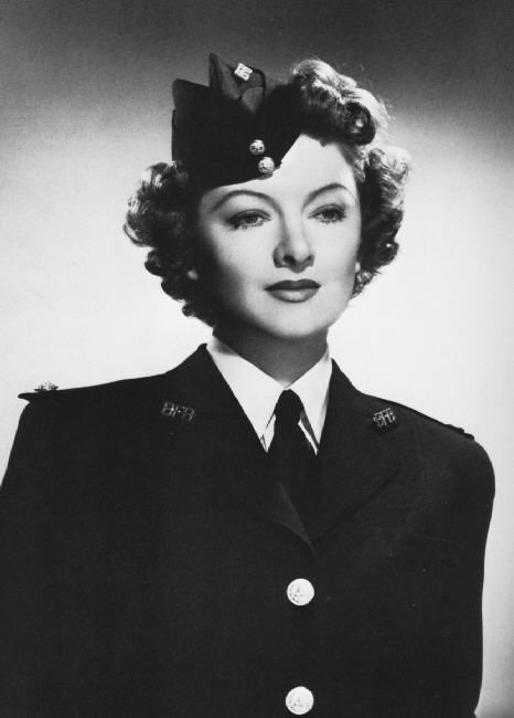 During WWII Myrna Loy abandoned her acting career to focus on the war effort and worked closely with the Red Cross. She toured frequently to raise war fonds, and was so outspokenly against Adolf Hitler that her name appeared on his blacklist.