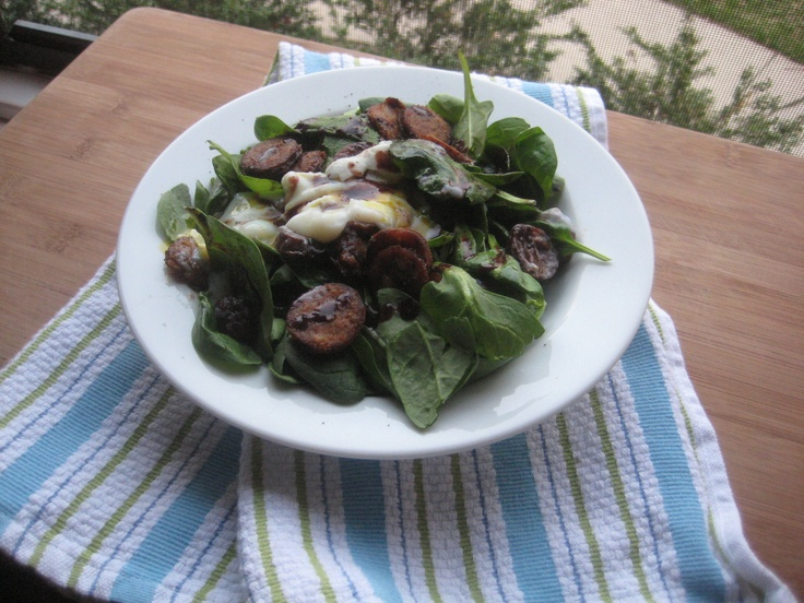spinach & chorizo salad in red wine reduction topped with a poached ...