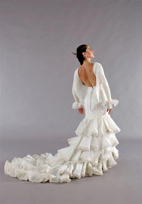 White flamenco dress culture pinterest for Flamenco style wedding dress