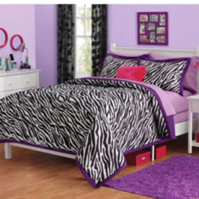 zebra print and purple bedroom decor for my 11 year daughter