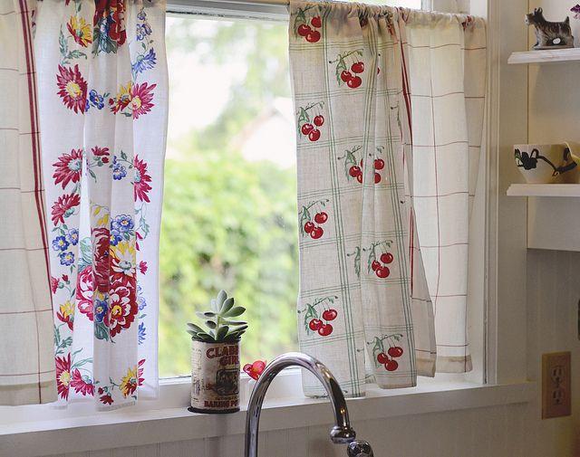 Kitchen curtain from vintage dishtowels kitchen love pinterest