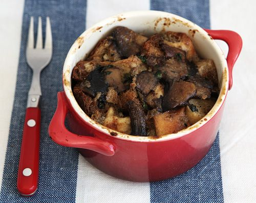 Wild Mushroom Bread Pudding recipe | Happy Eats | Pinterest