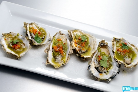 ... Oysters with Salsa Verde, Cilantro, Horseradish & Red Chili