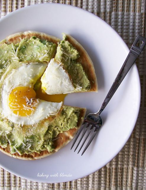 Egg and Avocado Breakfast Pita Pizza | FOOD! | Pinterest
