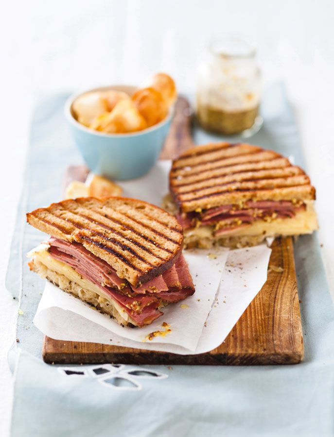 Pastrami and Swiss cheese sandwich