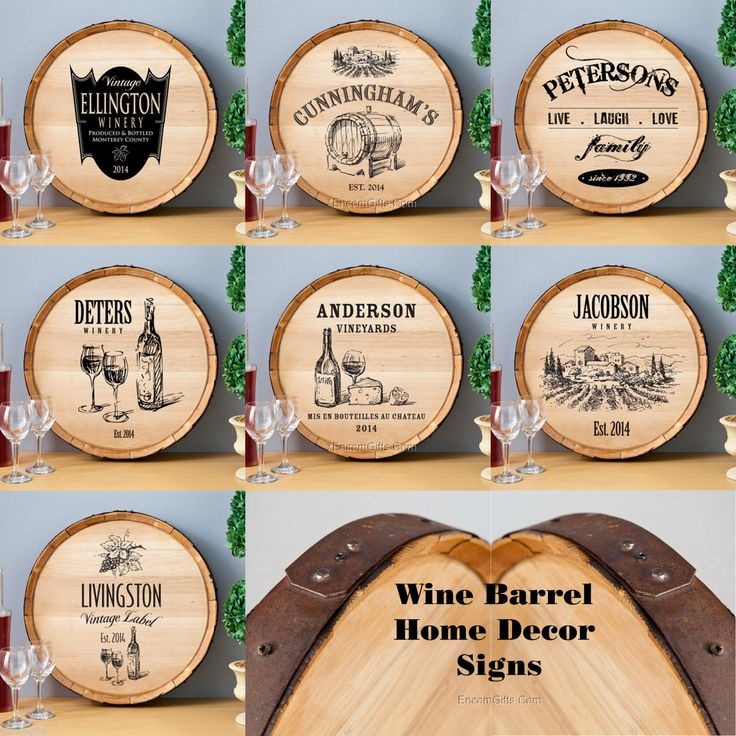Rustic Bar Wall Decor : Oak wine barrel sign rustic wood personalized bar man cave