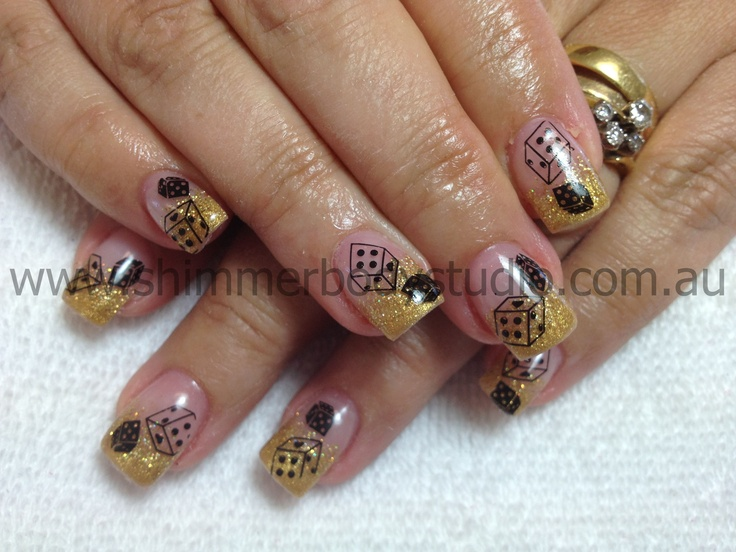 Gel Nails, Nail Art, Las Vegas Nails, Gold Nails, Konad Stamping Nail