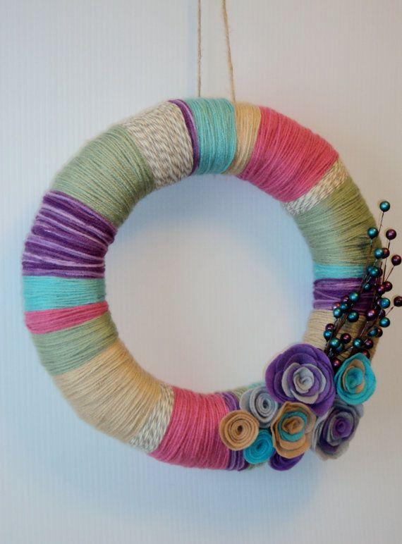 14 inch Yarn Wreath by 3SunshineKisses on Etsy, $25.00