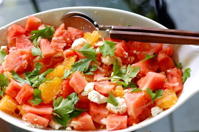 watermelon + orange + feta salad | Yum! | Pinterest