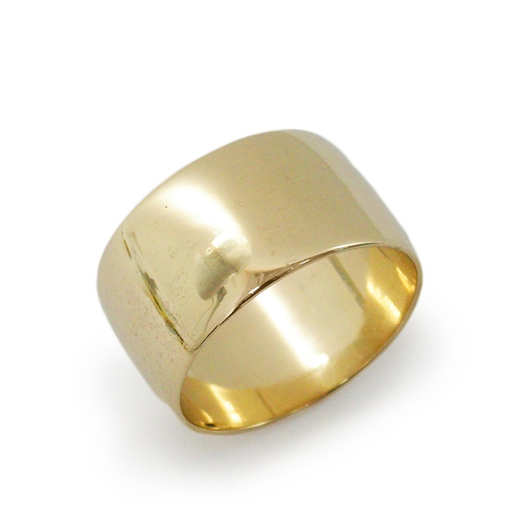 Wide no stone gold wedding band.