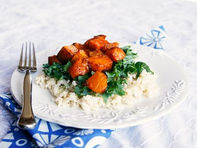 Spicy Honey Chipotle Squash and Sweet Potatoes over Brown Rice -- Turn ...