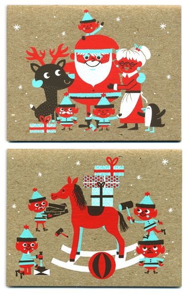 NEW Sad Santa silkscreen Holiday cards! by Tad Carpenter